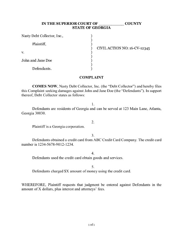 Sample Complaint  Civil Complaint Template